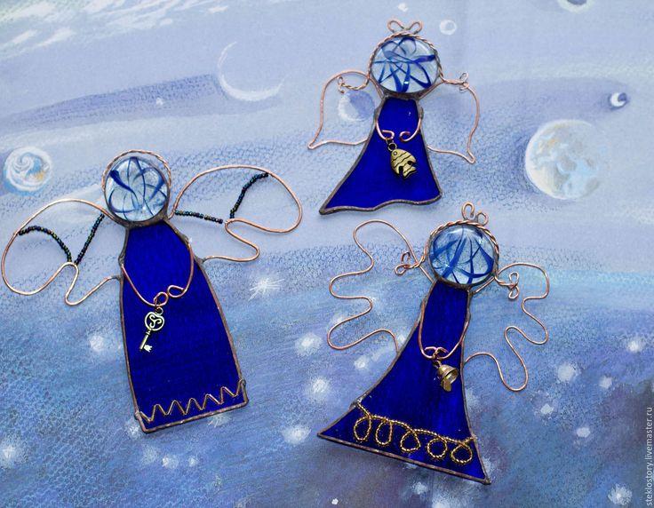 Купить Сувениры из стекла украшения интерьера «Ангелы» - ангел, крылья, елочная игрушка, подвеска на елку