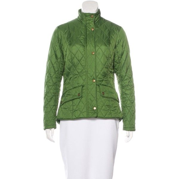 Pre-owned Barbour Quilted Blouson Jacket ($180) ❤ liked on Polyvore featuring outerwear, jackets, green, green quilted jacket, green jacket, stand collar jacket, flap jacket and bomber style jacket