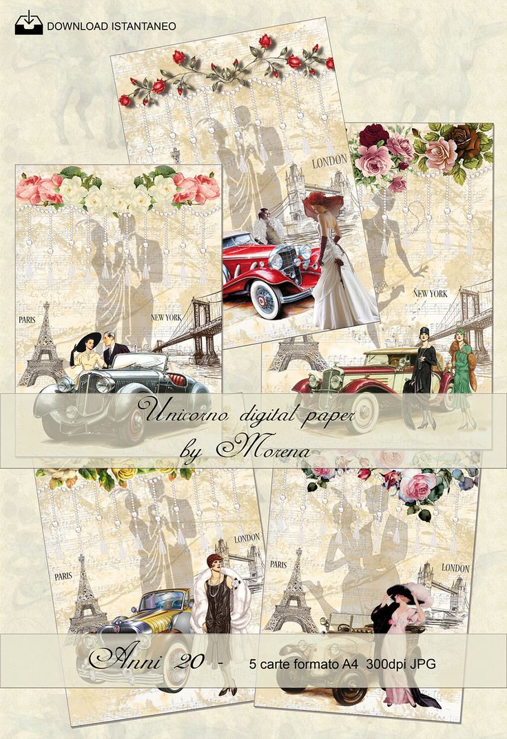 ANNI 20, Charleston,  Carta digitale, Craft, Carte per scrapbook, scrapbooking, Sfondi, Romantic, Retrò, Stampa, Vintage, Auto, Fashion di UnicornoPorcellane su Etsy