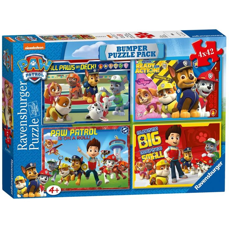 Four times the fun with these four Paw Patrol 42 piece jigsaw puzzles. Perfect for young Paw Patrol fans! Each puzzle features a different colourful scene from the popular children's TV programme. Showing all your favourite Paw Patrol characters, these jigsaw puzzles are excellent value for money as they can be done over and over again.