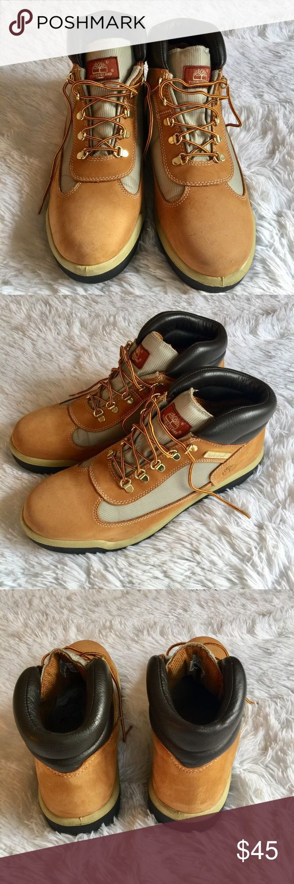 Mens Timberland Boots These boots have tons of life left. Cosmetically they have signs of wear but still look pretty good. Please enlarge photos to see wear. Priced due to wear. Timberland Shoes Boots