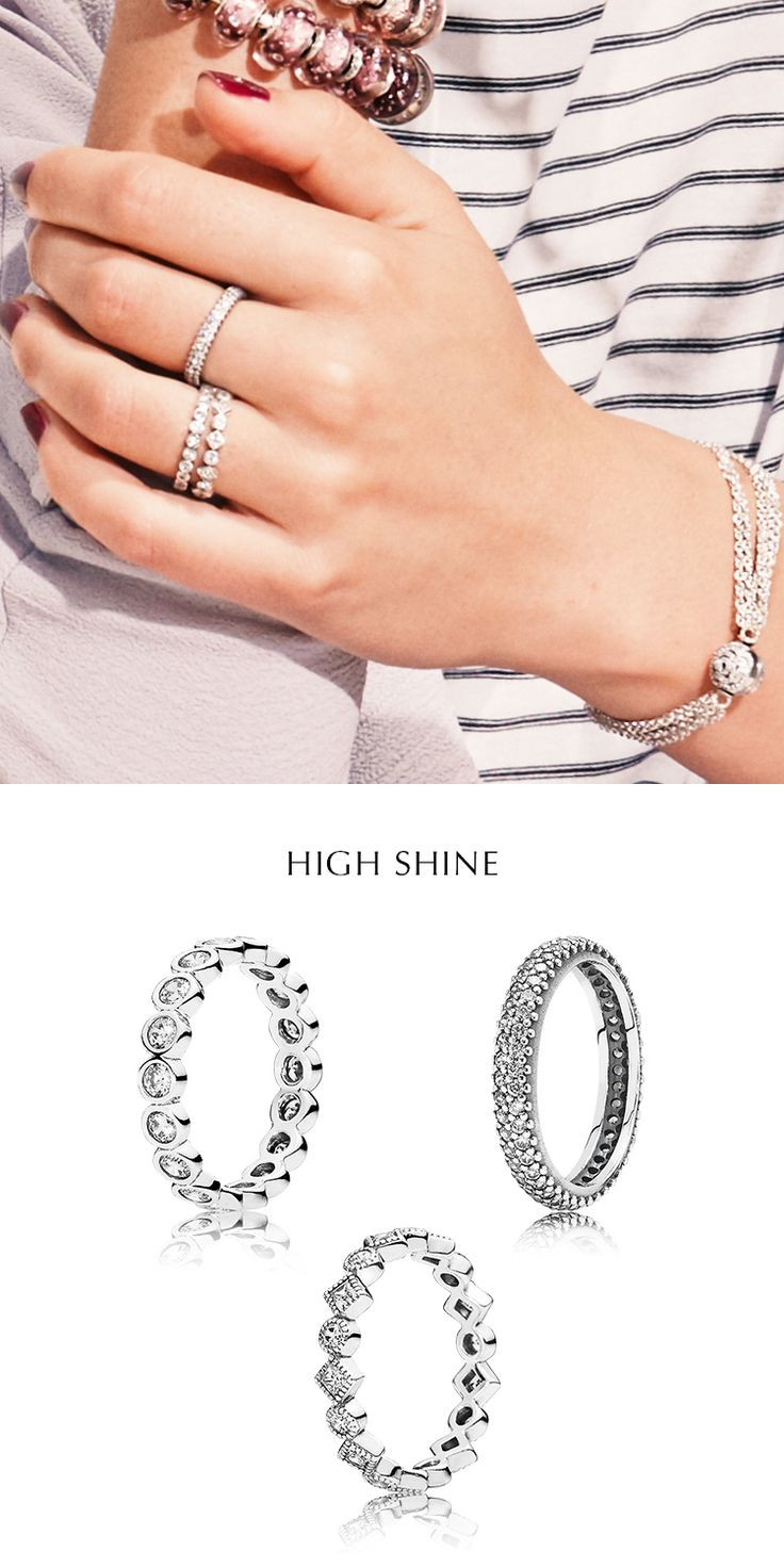 Channel your inner magpie and layer sleek band rings studded with shimmering stones in different sizes and cuts for a look of understated luxury. Vary the ring shapes to keep the look interesting. #PANDORA #PANDORAring #PANDORAmagazine