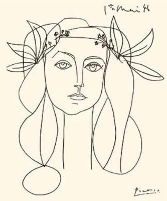 Pablo Picasso, Line Drawing of Francoise Gilot, unknown year. Wonderful.