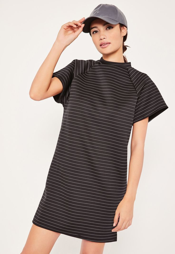 Missguided - Black High Neck Oversized Striped Dress