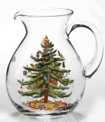 Spode Christmas Tree Pitcher    In 1938, English artist Harold Holdway was commissioned to draw a holiday tree for the timehonoured tabletop company.He immortalized the image with the Santa treetopper from his beloved illustration and it endures today! 96 oz.