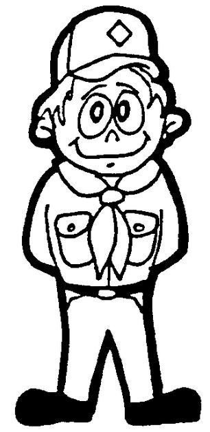 cub scout in uniform, black and white coloring sheet