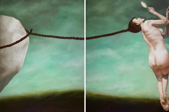 Anita DeSoto  Between a rock (diptych)  oil on canvas 138 x 266 cm