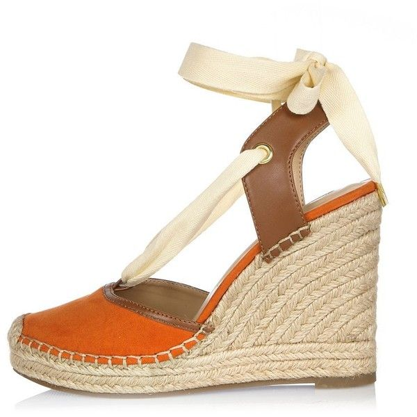 River Island Orange lace-up espadrille wedges ($90) ❤ liked on Polyvore featuring shoes, sandals, orange, shoes / boots, wedges, women, lace up wedge sandals, lace up shoes, espadrille wedge sandals and orange wedge sandals