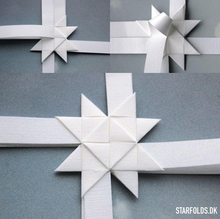 trin 3 flade julestjerner ud af flettestrimler model 2