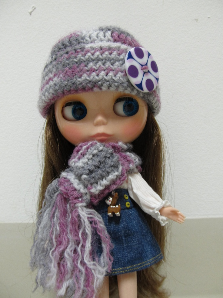 Purple and Grey Winter Hat and Scarf Set for Blythe Doll. $20.00, via Etsy.