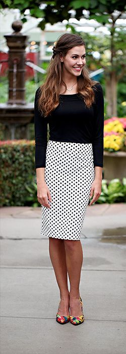 LOVE this classic White w/Black Polka Dot pencil skirt! This skirt is a wardrobe staple! Visit www.sierrabrooke.com to find more trendy modest clothing!