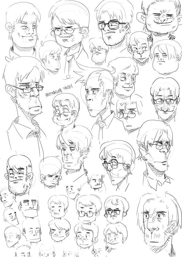 Yionguon's Sketch works - Male heads
