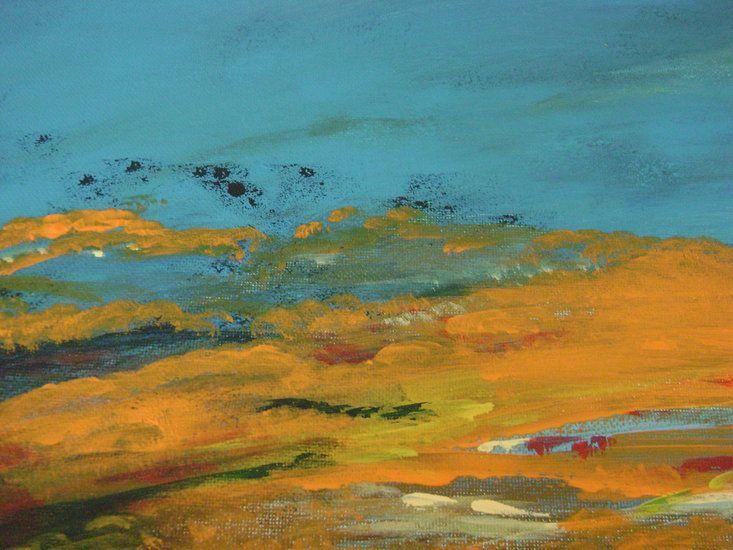 Na mijn vakantie in Egmond aan zee heb ik met de kleuren uit mijn gedachten de diverse zonsondergangen op doek overgebracht.