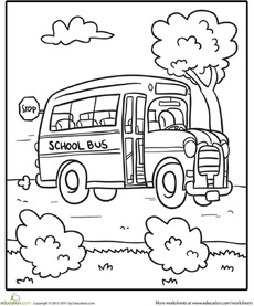 Transportation Coloring Page: School Bus Worksheet