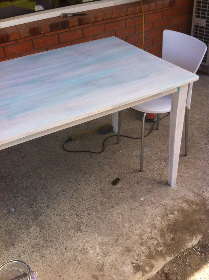 White wash table with a hint of blue