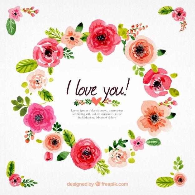 Watercolor coroa de flores Vetor grátis