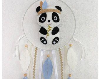 Mobiele baby, dream catcher Panda voelde, decoratie kamer baby of kinderen, geboorte, doop, verjaardag cadeau, babydouche, Kerstmis