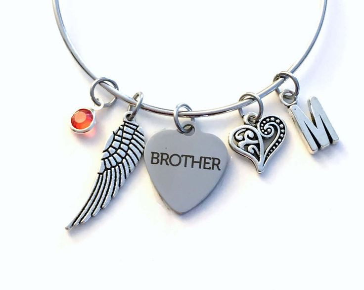Guardian Angel Brother Charm Bracelet, Memorial Loss of Dad Son Jewelry bangle Silver Angel Wing letter Bro, Heart Father Sister Uncle Mom by aJoyfulSurprise on Etsy