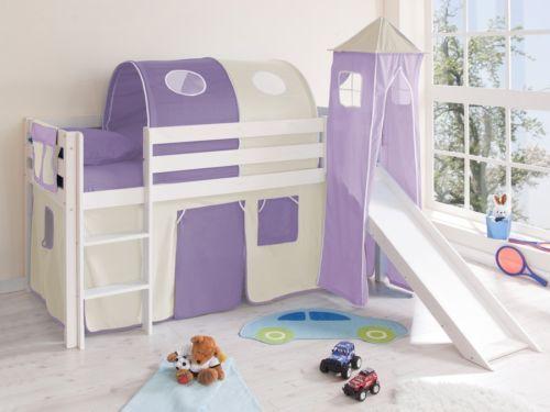 Cameretta-bambini-letto-a-soppalco-scivolo-in-legno-pino-bianco-scelta-tenda