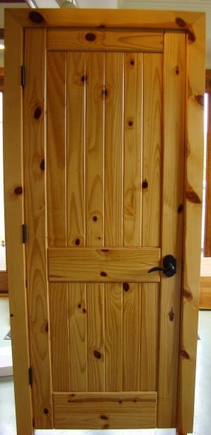 Two-Panel knotty pine door with vgroove planks
