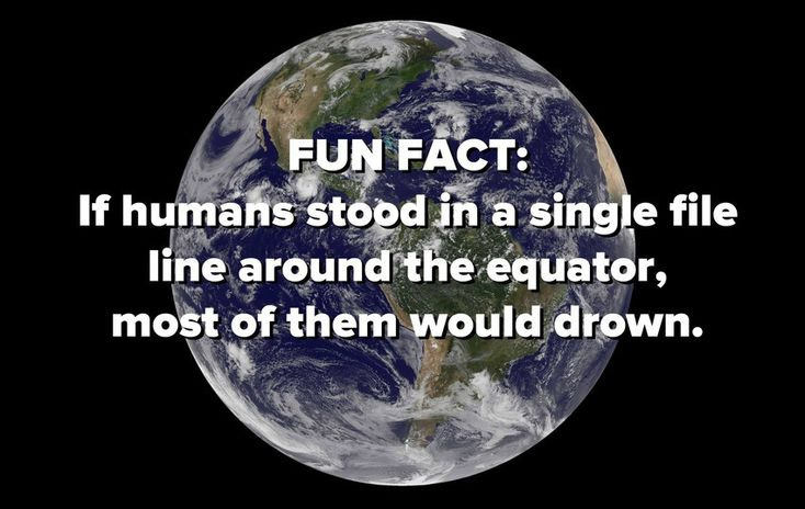 If humans stood in a single file line around the equator, most of them would drown.