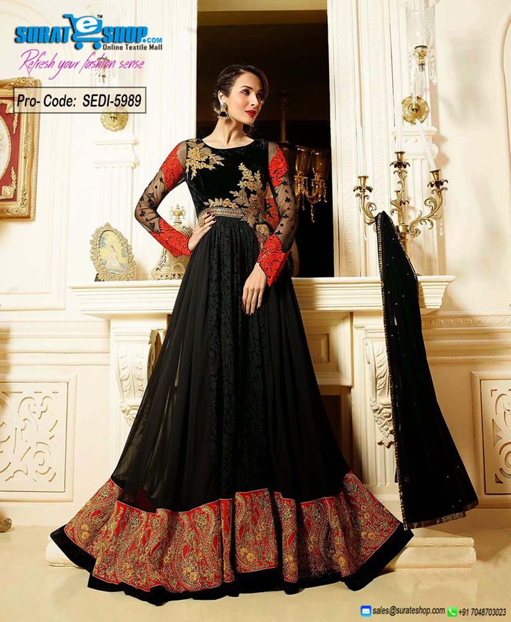 An Superb Black Faux Georgette Salwar Kameez Will Make You Look Extremely Stylish And Graceful. The Brilliant Dress Creates A Dramatic Canvas With Unbelievable Butta Work, Lace, Resham, Stones Work. Paired With A Matching Bottom Comes With A Matching Dupatta  Visit: http://surateshop.com/product-details.php?cid=2_27_43&pid=8298&mid=0