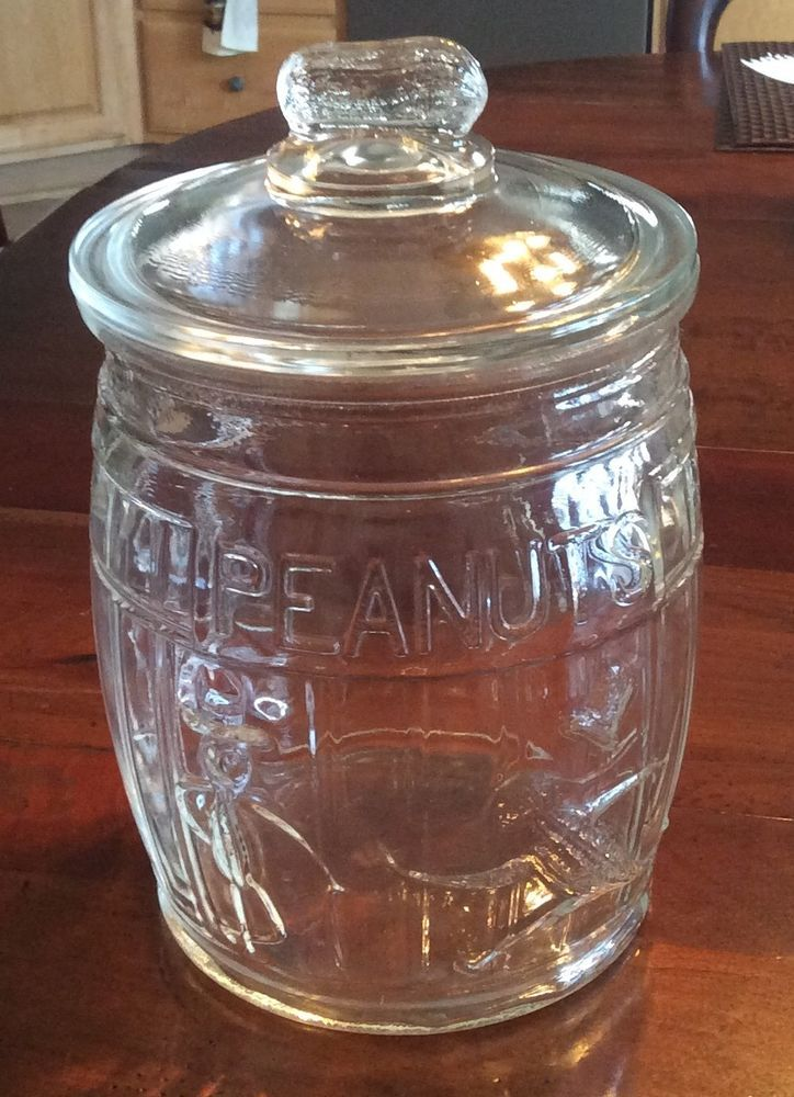 "Vintage Early Planters Peanuts Store Counter Display Jar 10.5"" x 7"" Barrel  #PLANTERSNUTS"