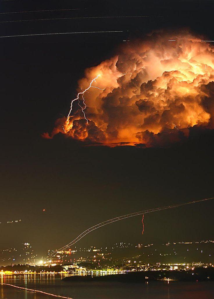 Startrails and Lightning over Corfu, Greece