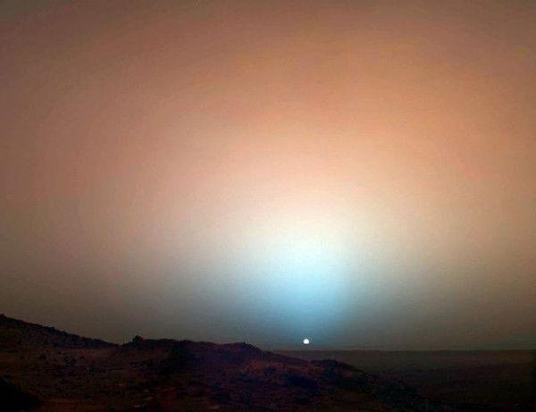A treat: sunset on Mars, via David Young, via NASA (I think). So blue, the light; so red, the land...