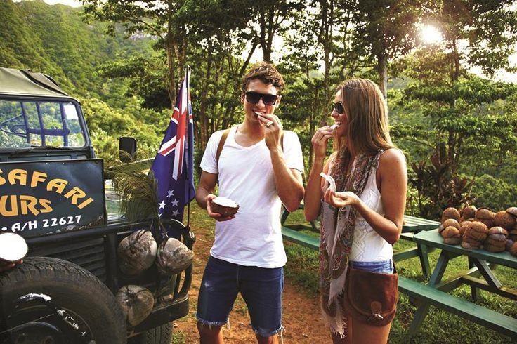 Learn to husk a coconut and explore the mountains of Rarotonga on a Raro Safari Tour.
