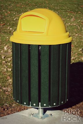"""Model TRH/G-32PN24 Trash or Recycling Receptacle Holder, steel frame rings with hot dip galvanized finish, 2"""" x 4"""" slats of 100% recycled plastic in Green color (other colors available). Shown with optional Model CN-PD/Y-27 plastic dome lid in yellow color. Also shown with optional Model M3/G surface pedestal mount. The slats can be wood or recycled plastic. Unit comes in 3 sizes: 20, 32 and 55 gallons. #pilotrock #recycling"""