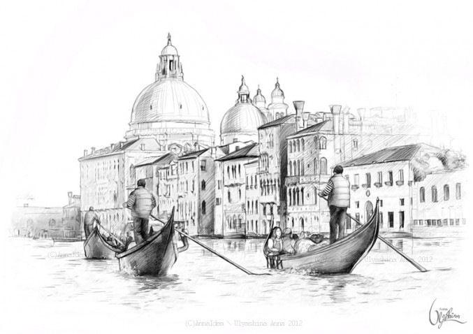 италия черно белый рисунок рассматриваемой среде