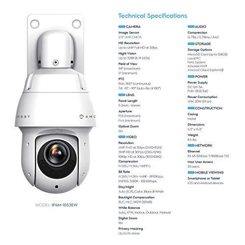 Amcrest 4MP Outdoor PTZ POE + IP Camera Pan Tilt Zoom