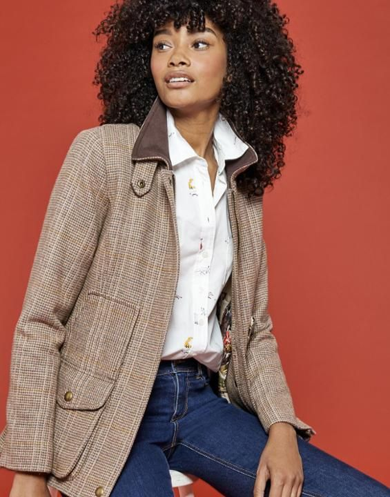 Joules US Tweed Womens Fieldcoat Mr Toad Brown