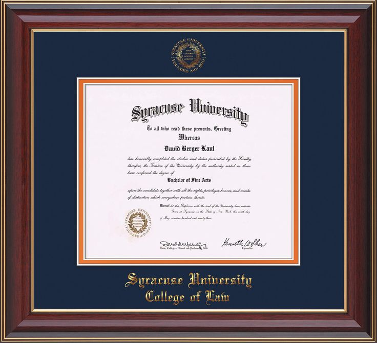 Syracuse University Diploma Frame-Che Lacquer-w/SU Law-Navy/Orange mat – Professional Framing Company