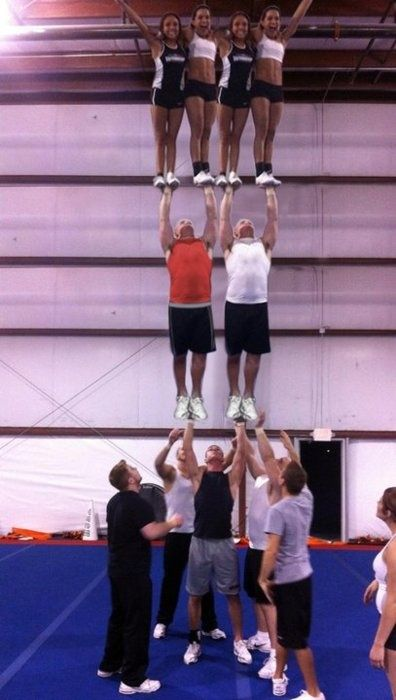 I've never seen a three-high single basing stunt. This is awesome!  WISH I COULD GO BAAACK!