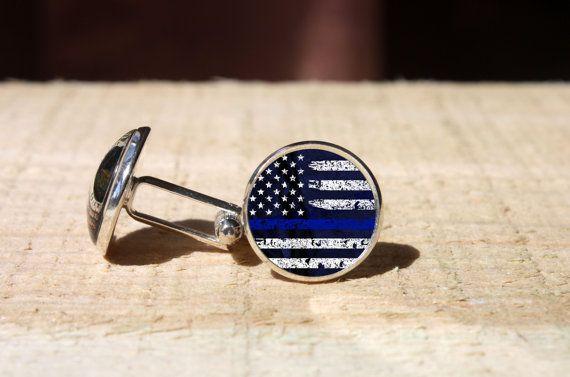 Thin Blue Line cufflinks Police Officer gift cuff by Blueskymood