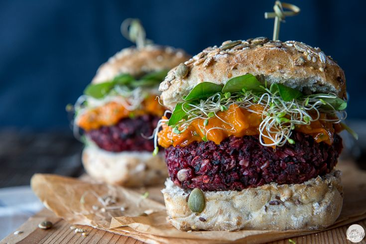 "The Divine Veggie Burger from ""Love and Garnish"" : beets, shiitake mushrooms, smoked tofu + chipotle tomato jam"