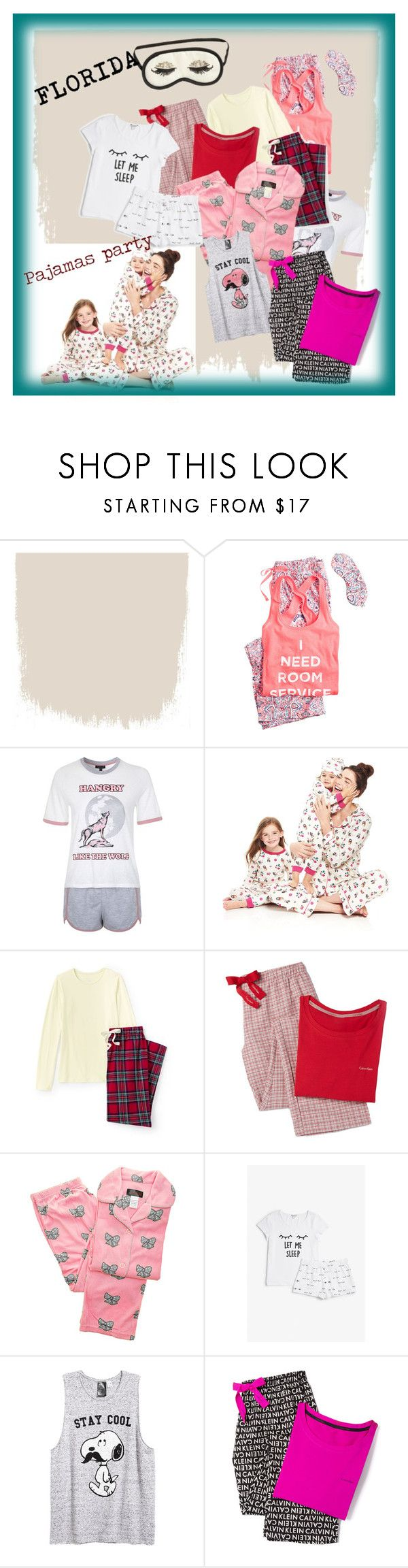 """Pajamas party"" by floridanuha ❤ liked on Polyvore featuring Victoria's Secret, H&M, Topshop, Bed Head by TIGI, Lands' End, Calvin Klein Underwear, ANGELINA, Monki and plus size clothing"