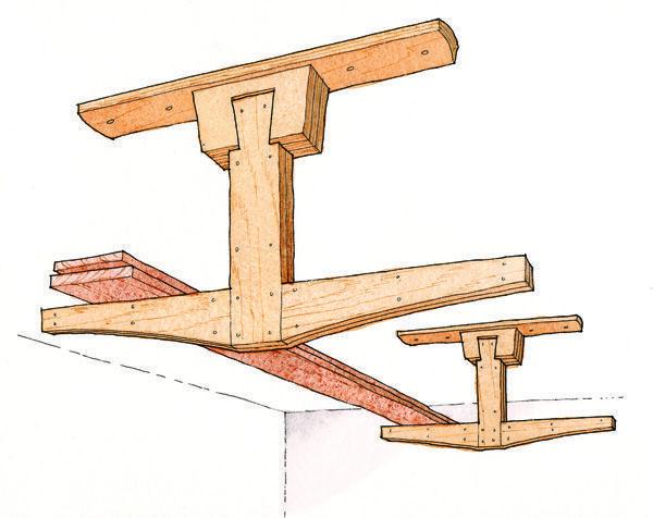 Baixe um plano de projeto livre para a construção de um rack de armazenamento aéreo de madeira serrada.  - Clique para ampliar