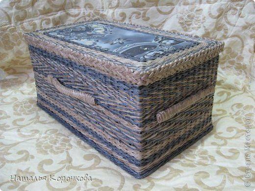 Поделка изделие Плетение Еще немного и можно корзину для белья попробовать Трубочки бумажные фото 1