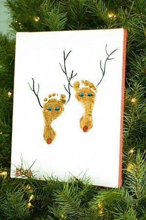 Brown paint on their feet and drawing the antlers, eyes, and nose.