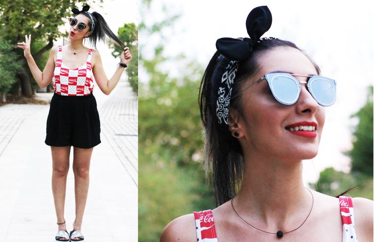 #highwaistedshorts #high #waisted #shorts #cocacola #crop #top #ojo #sunglasses #mirror #shades #pinup #style #streetwear #streestyle #street #slippers #summer #trends