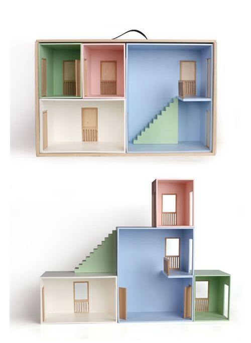 The modular doll's house (above) comes in one big box, but you can fit the rooms together in many different ways to create the perfect doll's house.