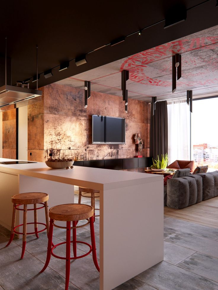 Elegant 3 Modern Apartment Interiors That Masterfully Demonstrate How To Use Red As  An Artistic Accent