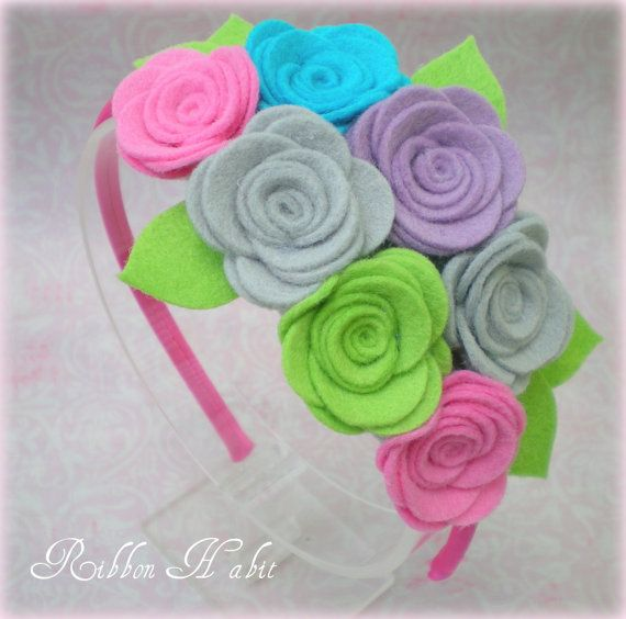 Felt Flowers Headband for Girls Teens Adults in Hot by Ribbonhabit, $14.00