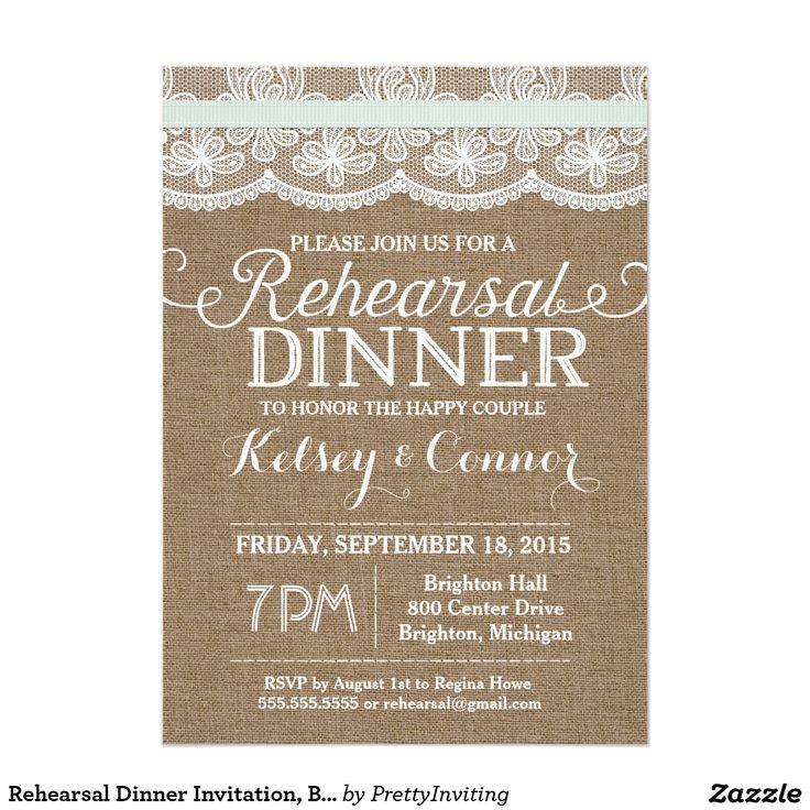 "Rehearsal Dinner Invitation, Burlap and Lace, Mint 5"" X 7"" Invitation Card"