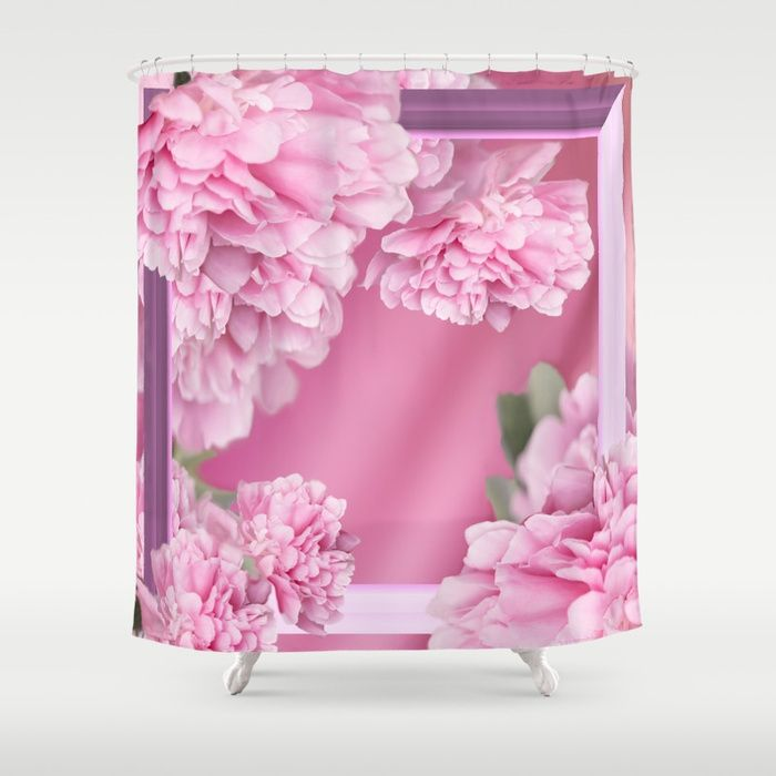 Pink Peonies In Frame #decor #society6 #buyart Shower Curtain