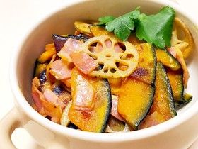 かぼちゃレンコンの炒め物