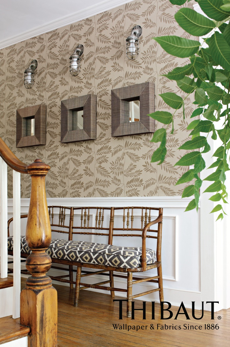 Hana Wallpaper In Taupe With Carole Printed Fabric In Grey From Avalon By Thibaut